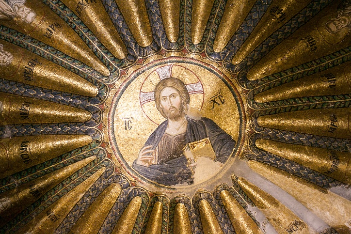 Ancient interior mosaic in the Church of the Holy Saviour in Chora